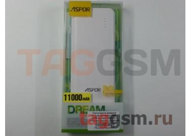 Портативное зарядное устройство (Power Bank) (Aspor A347, 2USB выхода 1000mAh  /  2100mAh) Емкость 11000mAh (бело-зеленое)