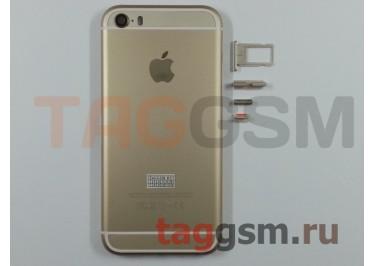 Задняя крышка для iPhone 5S (золото) (дизайн iPhone 6) усиленный корпус