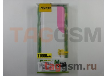 Портативное зарядное устройство (Power Bank) (Aspor A399, 2USB выхода 1000mAh  /  2000mAh) Емкость 11000mAh (бело-розовое)