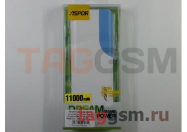 Портативное зарядное устройство (Power Bank) (Aspor A399, 2USB выхода 1000mAh  /  2000mAh) Емкость 11000mAh (бело-синее)