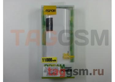 Портативное зарядное устройство (Power Bank) (Aspor A343, 2USB выхода 1000mAh  /  2100mAh) Емкость 11000mAh (белое с дисплеем)