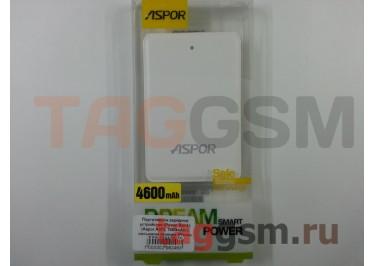 Портативное зарядное устройство (Power Bank) (Aspor A372, 1000mAh с разъемом зарядки iPhone 5 / 6, micro USB) Емкость 4600mAh (белое)