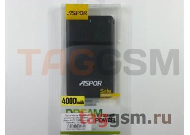 Портативное зарядное устройство (Power Bank) (Aspor A371, 2USB выхода 1000mAh  /  1000mAh с разъемом зарядки iPhone 5 / 6 / 7, micro USB) Емкость 4000mAh (черный)