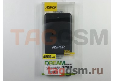Портативное зарядное устройство (Power Bank) (Aspor A372, 1000mAh с разъемом зарядки iPhone 5 / 6, micro USB) Емкость 4600mAh (черное)