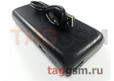 Портативное зарядное устройство (Power Bank) (HSW-6SO, 2USB выхода 1000mAh  /  2000mAh, зарядка от USB и солнечной батареи) Емкость 10000mAh (черное)