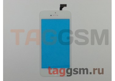 Стекло + тачскрин для iPhone 5 (белый), (олеофобное покрытие) ААА