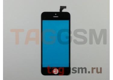 Стекло + тачскрин для iPhone 5 (черный), (олеофобное покрытие) ААА