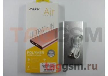 Портативное зарядное устройство (Power Bank) (Aspor A373) Емкость 6000mAh (серебро)