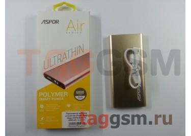 Портативное зарядное устройство (Power Bank) (Aspor A373) Емкость 6000mAh (золото)