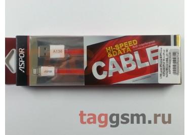 USB для iPhone 6 / iPhone 5 / iPad4 / iPad Mini / iPod Nano, (A138) ASPOR (красный)