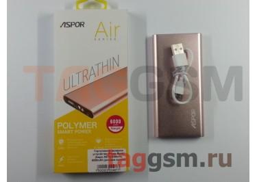 Портативное зарядное устройство (Power Bank) (Aspor A373) Емкость 6000mAh (розовое золото)