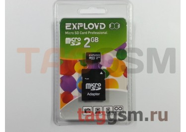 Micro SD 2Gb Exployd с адаптером SD