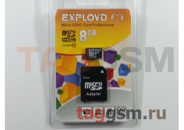 Micro SD 8Gb Exployd Class 10 с адаптером SD