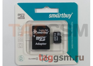 Micro SD 16Gb Smart Buy Class 4  с  адаптером SD