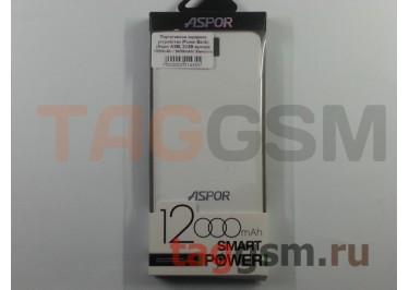 Портативное зарядное устройство (Power Bank) (Aspor A386, 2USB выхода 1000mAh  /  2400mAh) Емкость 12000mAh (белый)