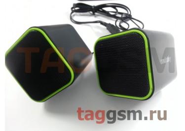 Колонки мультимедийные Smartbuy CUTE, мощность 6Вт, USB, черно-зеленые (SBA-2580)