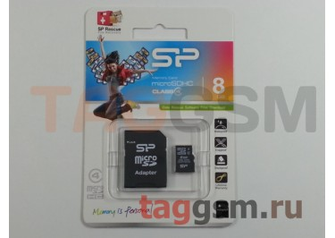 Micro SD 8Gb Silicon Power Class 4 с адаптером SD