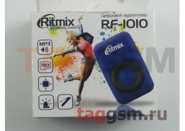 MP3 плеер RITMIX RF-1010 (слот MicroSD+наушники+кабель для зарядки), синий