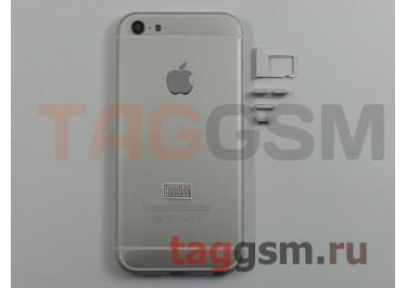 Задняя крышка для iPhone 5 (серебро) (дизайн iPhone 6) усиленный корпус