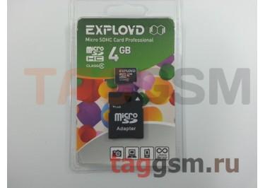 Micro SD 4Gb Exployd Class 4 с адаптером SD