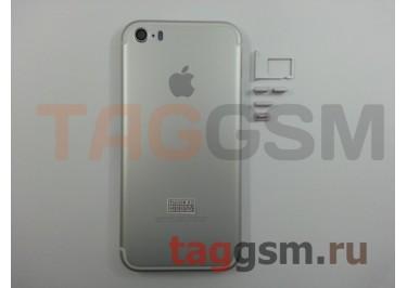 Задняя крышка для iPhone 5S (серебро) (дизайн iPhone 7)