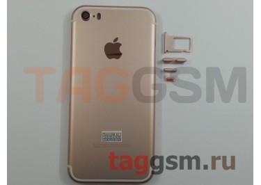 Задняя крышка для iPhone 5S (розовое золото) (дизайн iPhone 7)