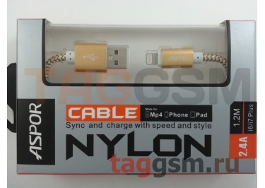 USB для iPhone 6 / iPhone 5 / iPad4 / iPad Mini / iPod Nano, (A176) ASPOR (1,2м) (золото)