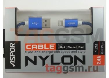 USB для iPhone 6 / iPhone 5 / iPad4 / iPad Mini / iPod Nano, (A176) ASPOR (1,2м) (синий)