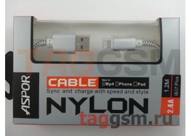 USB для iPhone 6 / iPhone 5 / iPad4 / iPad Mini / iPod Nano, (A176) ASPOR (1,2м) (серебро)