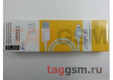 USB для iPhone 6 / iPhone 5 / iPad4 / iPad Mini / iPod Nano, (A102) ASPOR (1м) (белый)