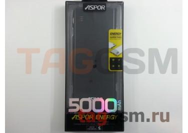 Портативное зарядное устройство (Power Bank) (Aspor A352, 2USB выхода 1000mAh  /  2000mAh) Емкость 5000mAh (черный)