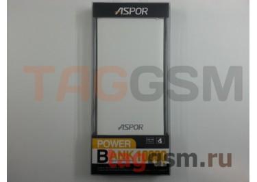 Портативное зарядное устройство (Power Bank) (Aspor A341, 2USB выхода 2100mAh) Емкость 10000mAh (бело-черное)
