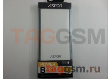 Портативное зарядное устройство (Power Bank) (Aspor A341, 2USB выхода 2100mAh) Емкость 10000mAh (бело-голубое)