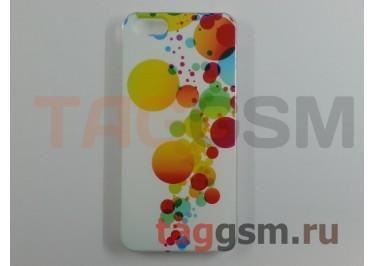 Задняя накладка Lux Case для iPhone 5 (белая с кружочками)