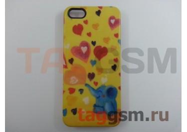 """Задняя накладка Colicoli для iPhone 5 (жёлтая """"Слоник с цветными сердечками"""")"""