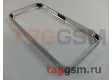 Бампер для iPhone 5 / 5S / SE (металлический, серебряный)