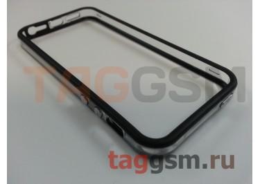 Бампер для iPhone 5 / 5S / SE (чёрный с прозрачной вставкой)