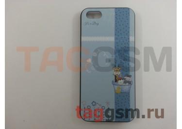 Задняя накладка Color film для iPhone 5 объёмный рисунок (голубая с жирафом)