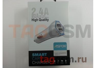Автомобильное зарядное устройство USB 2400mAh 2 выхода USB, (A901) ASPOR