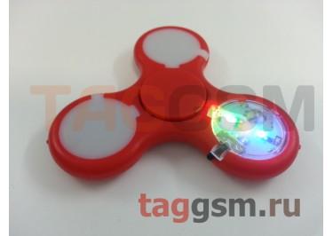 Спиннер трехлучевой (светящийся LED) (красный) тип1