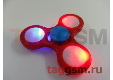 Спиннер трехлучевой (светящийся LED) (красный) тип2