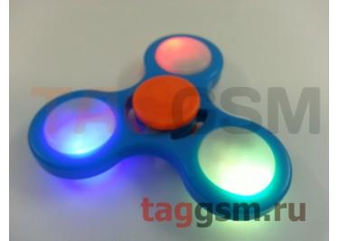 Спиннер трехлучевой (светящийся LED) (голубой) тип2