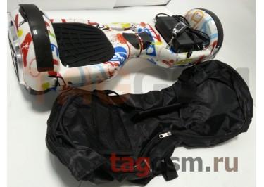 Гироскутер Smart Balance 6,5''. Tao Tao APP, пульт, BT-плеер, LED ходовые огни, АКБ samsung, сумка, цвет белый-граффити