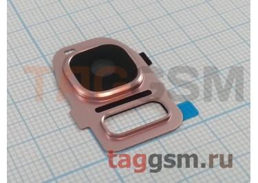 Стекло задней камеры для Samsung G930 Galaxy S7 (розовое золото)