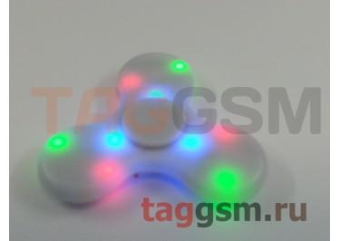 Спиннер трехлучевой (BT-плеер, светящийся LED) (белый)