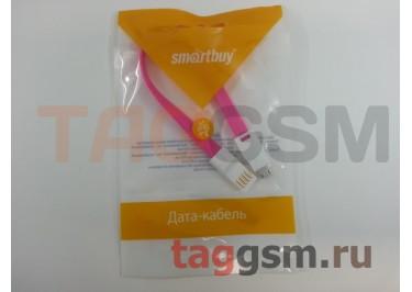 Кабель USB - micro USB, плоский с магнитом (20см) розовый, Smartbuy