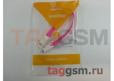 USB для iPhone 7 / iPhone 6 / iPhone 5 / iPad4 / iPad Mini / iPod Nano плоский с магнитом (20см) розовый, Smartbuy