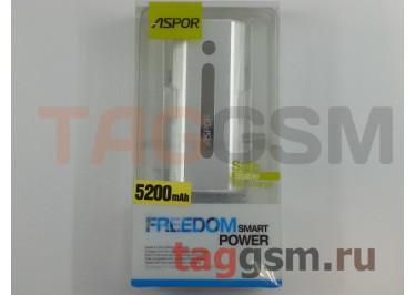 Портативное зарядное устройство (Power Bank) (Aspor A361) Емкость 5200mAh (серебро)