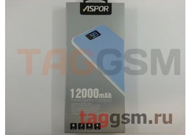Портативное зарядное устройство (Power Bank) (Aspor A386, 2USB выхода 1000mAh  /  2400mAh) Емкость 12000mAh (голубой)