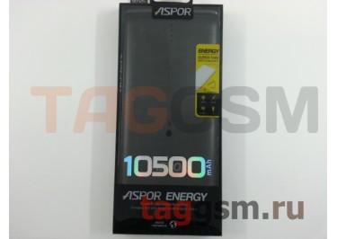 Портативное зарядное устройство (Power Bank) (Aspor A382, с разъемом зарядки micro USB, с переходником lightning) Емкость 10500mAh (черный)